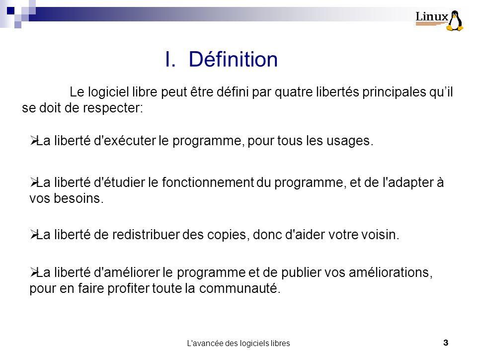 L avancée des logiciels libres3 I.Définition Le logiciel libre peut être défini par quatre libertés principales quil se doit de respecter: La liberté d exécuter le programme, pour tous les usages.