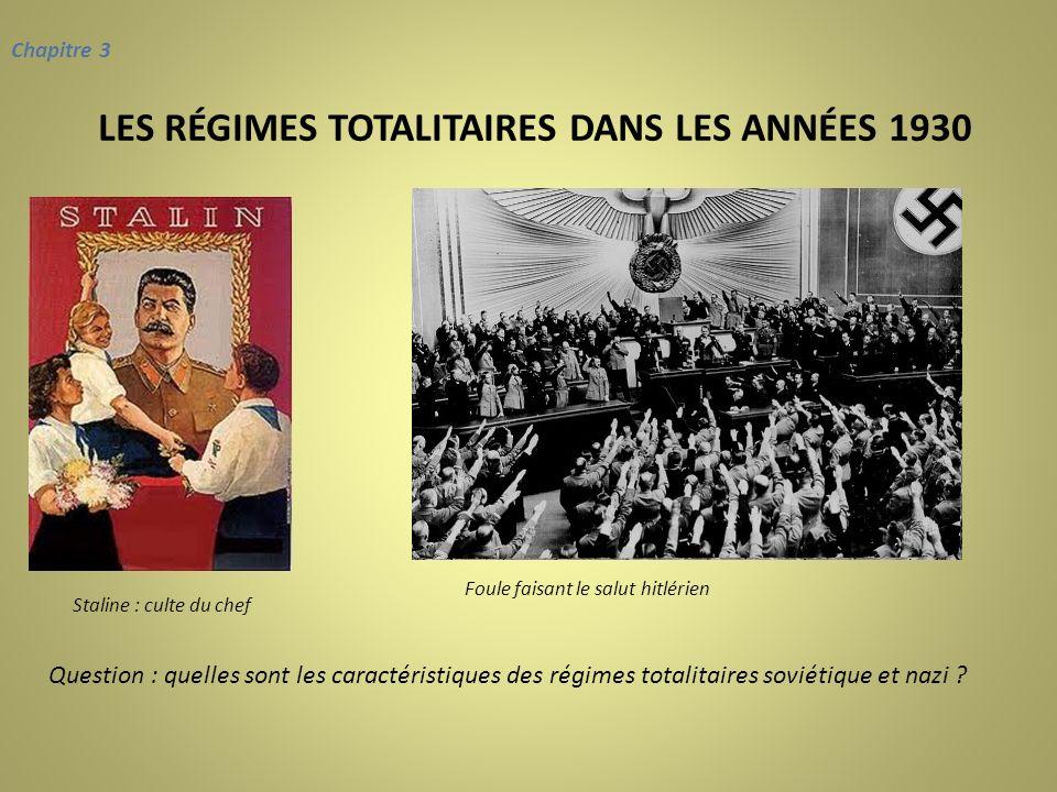 LES RÉGIMES TOTALITAIRES DANS LES ANNÉES 1930 Chapitre 3 Foule faisant le salut hitlérien Staline : culte du chef Question : quelles sont les caractér