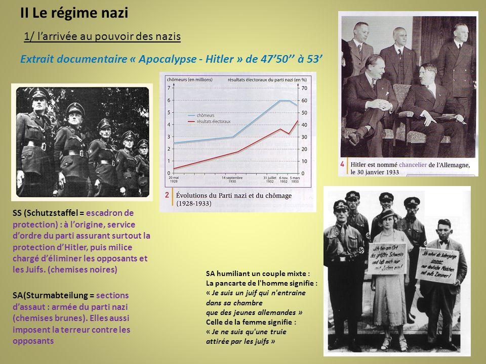II Le régime nazi 1/ larrivée au pouvoir des nazis Extrait documentaire « Apocalypse - Hitler » de 4750 à 53 SA humiliant un couple mixte : La pancart
