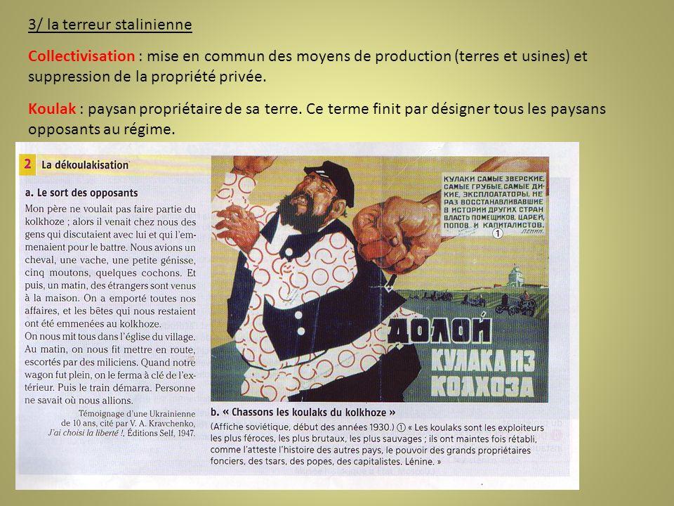 3/ la terreur stalinienne Collectivisation : mise en commun des moyens de production (terres et usines) et suppression de la propriété privée. Koulak