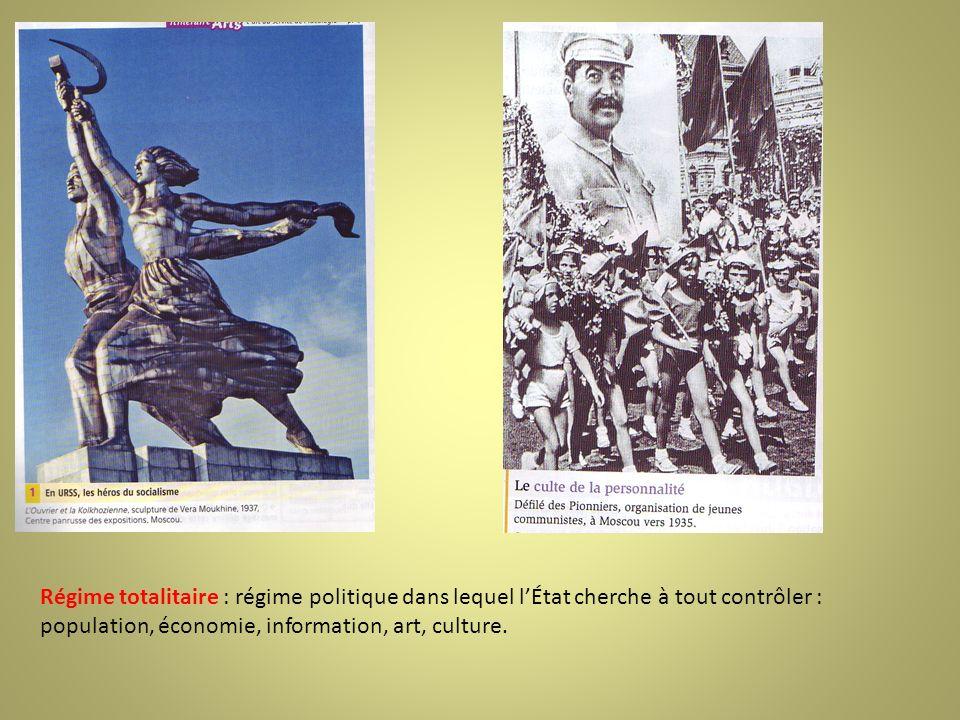 Régime totalitaire : régime politique dans lequel lÉtat cherche à tout contrôler : population, économie, information, art, culture.