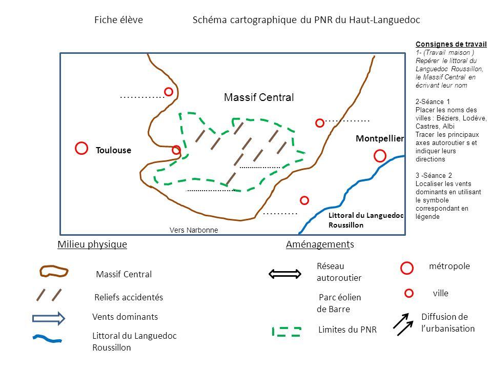 Fiche élèveSchéma cartographique du PNR du Haut-Languedoc Parc éolien de Barre Limites du PNR métropole ville Vents dominants Reliefs accidentés Résea