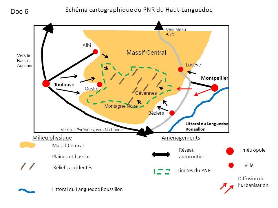 Schéma cartographique du PNR du Haut-Languedoc Limites du PNR métropole ville Reliefs accidentés Réseau autoroutier Diffusion de lurbanisation Aménage