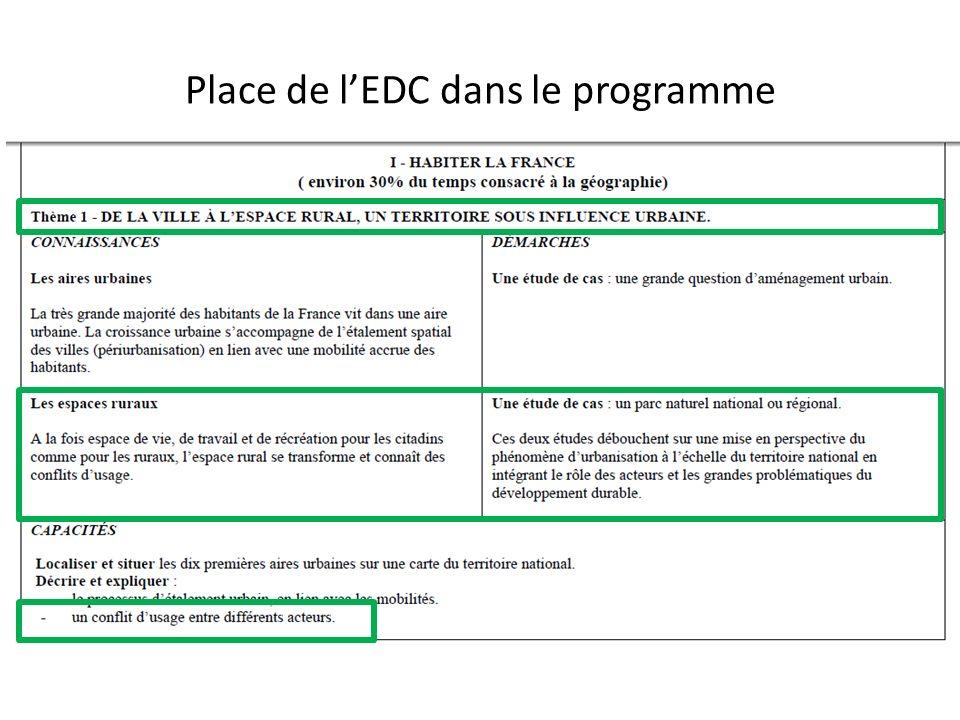 Place de lEDC dans le programme