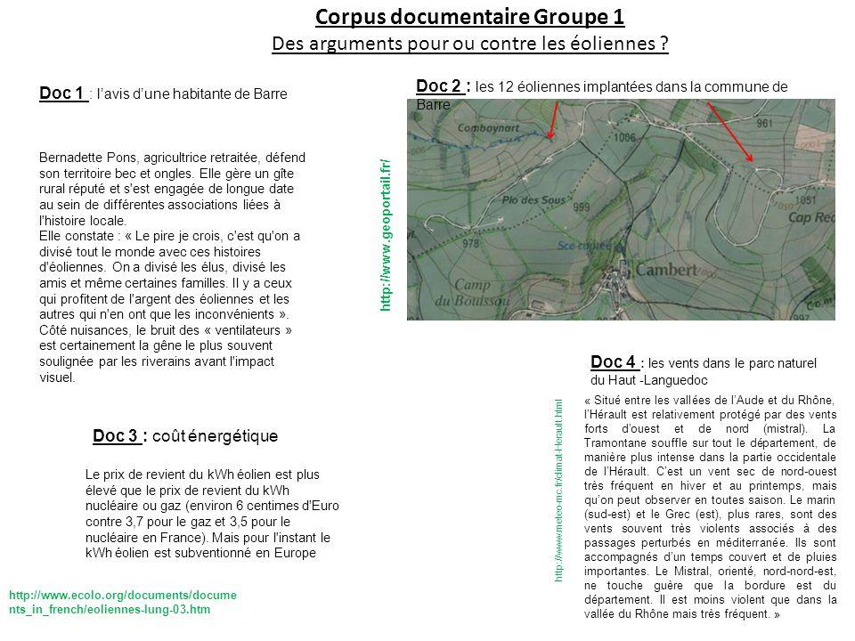 Corpus documentaire Groupe 1 Des arguments pour ou contre les éoliennes ? Doc 4 : les vents dans le parc naturel du Haut -Languedoc http://www.meteo-m