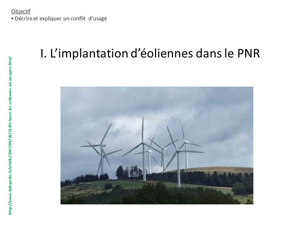 I. Limplantation déoliennes dans le PNR Objectif Décrire et expliquer un conflit dusage http://www.ladepeche.fr/article/2007/09/28/24281-barre-les-eol