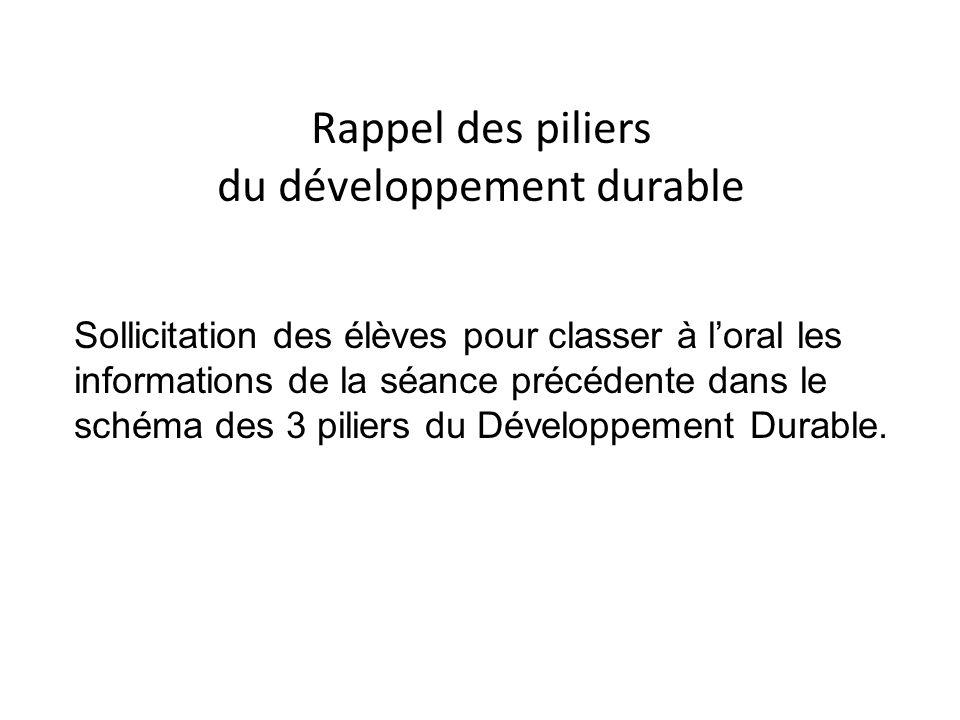 Rappel des piliers du développement durable Sollicitation des élèves pour classer à loral les informations de la séance précédente dans le schéma des