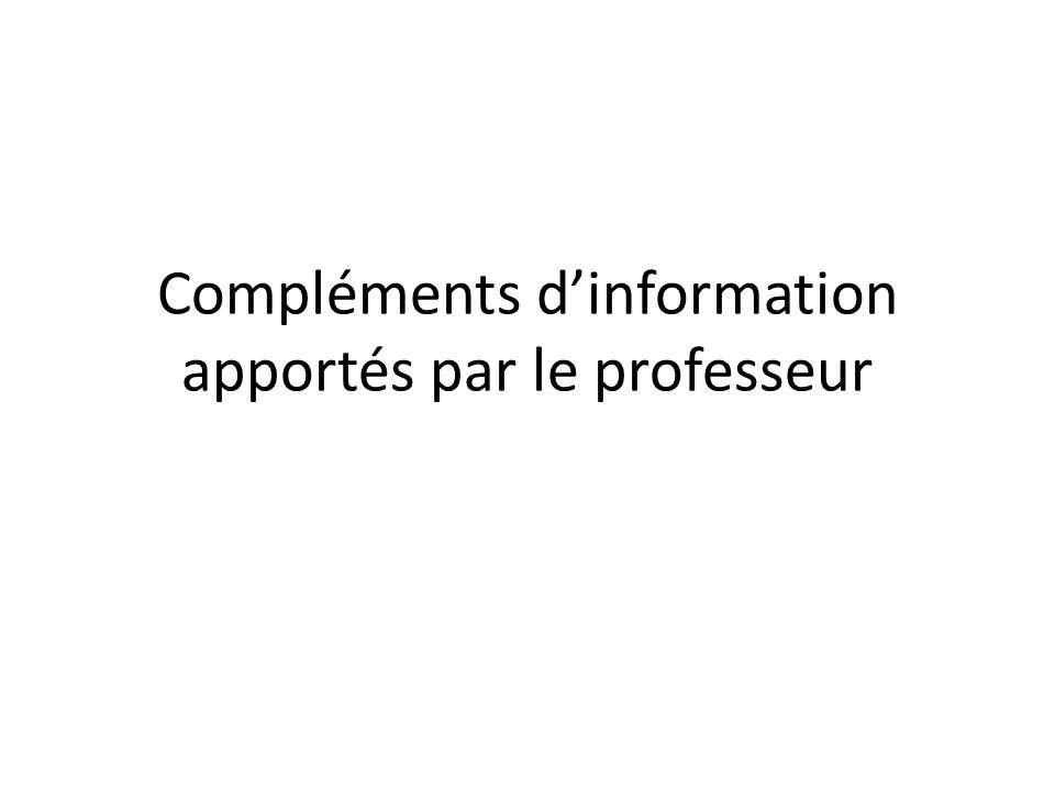 Compléments dinformation apportés par le professeur