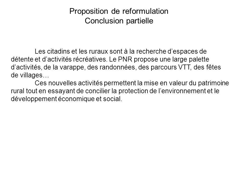 Proposition de reformulation Conclusion partielle Les citadins et les ruraux sont à la recherche despaces de détente et dactivités récréatives. Le PNR