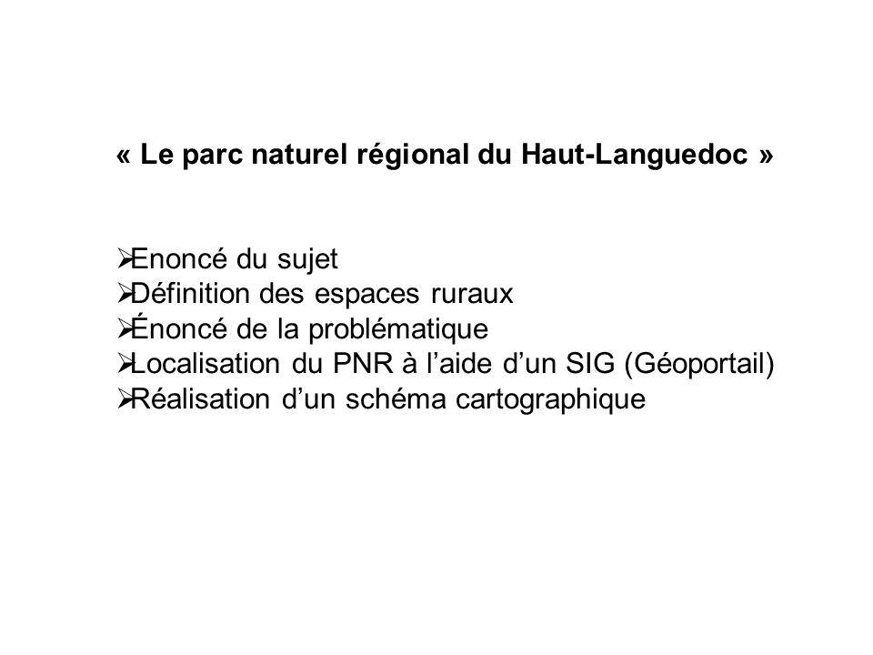 « Le parc naturel régional du Haut-Languedoc » Enoncé du sujet Définition des espaces ruraux Énoncé de la problématique Localisation du PNR à laide du