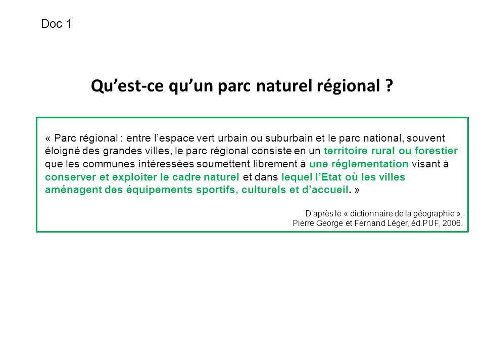 Quest-ce quun parc naturel régional ? « Parc régional : entre lespace vert urbain ou suburbain et le parc national, souvent éloigné des grandes villes