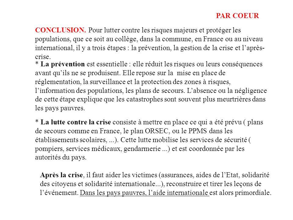 CONCLUSION. Pour lutter contre les risques majeurs et protéger les populations, que ce soit au collège, dans la commune, en France ou au niveau intern