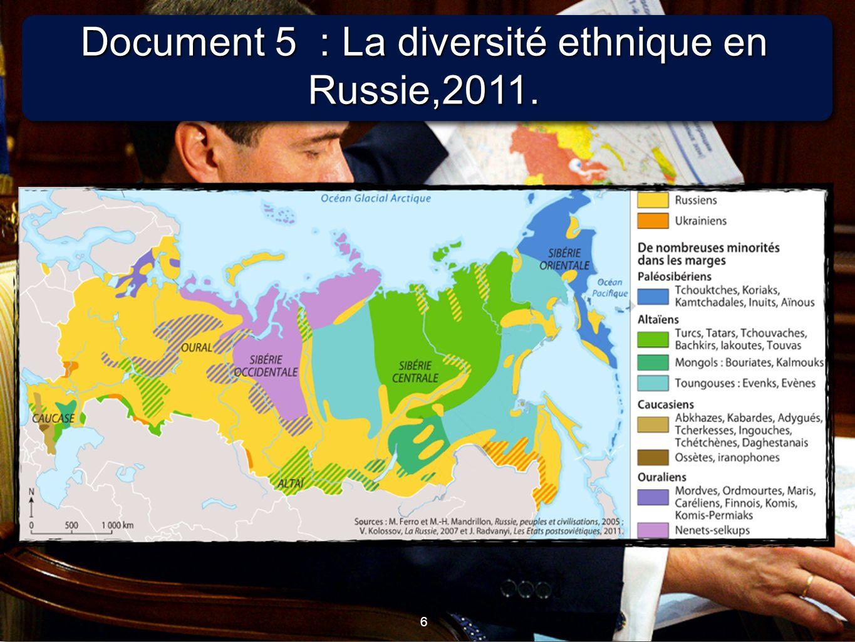 6 6 Document 5 : La diversité ethnique en Russie,2011.