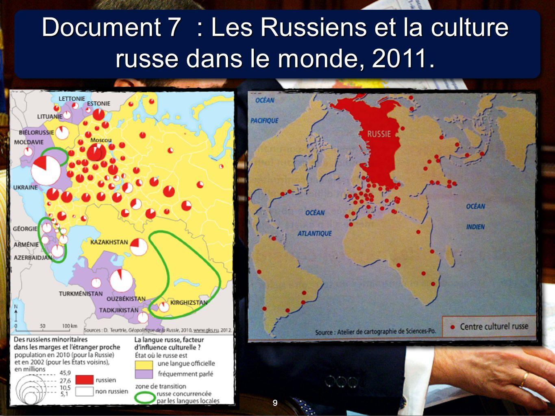 9 9 Document 7 : Les Russiens et la culture russe dans le monde, 2011.