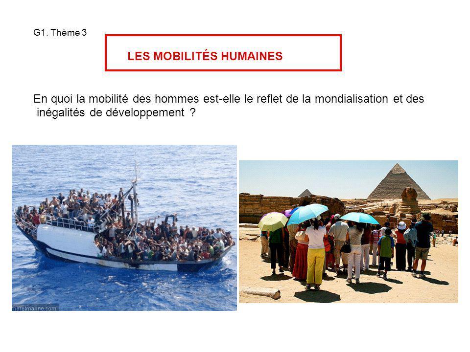 G1. Thème 3 LES MOBILITÉS HUMAINES En quoi la mobilité des hommes est-elle le reflet de la mondialisation et des inégalités de développement ?