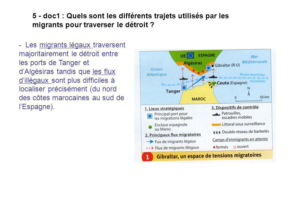 5 - doc1 : Quels sont les différents trajets utilisés par les migrants pour traverser le détroit ? - Les migrants légaux traversent majoritairement le