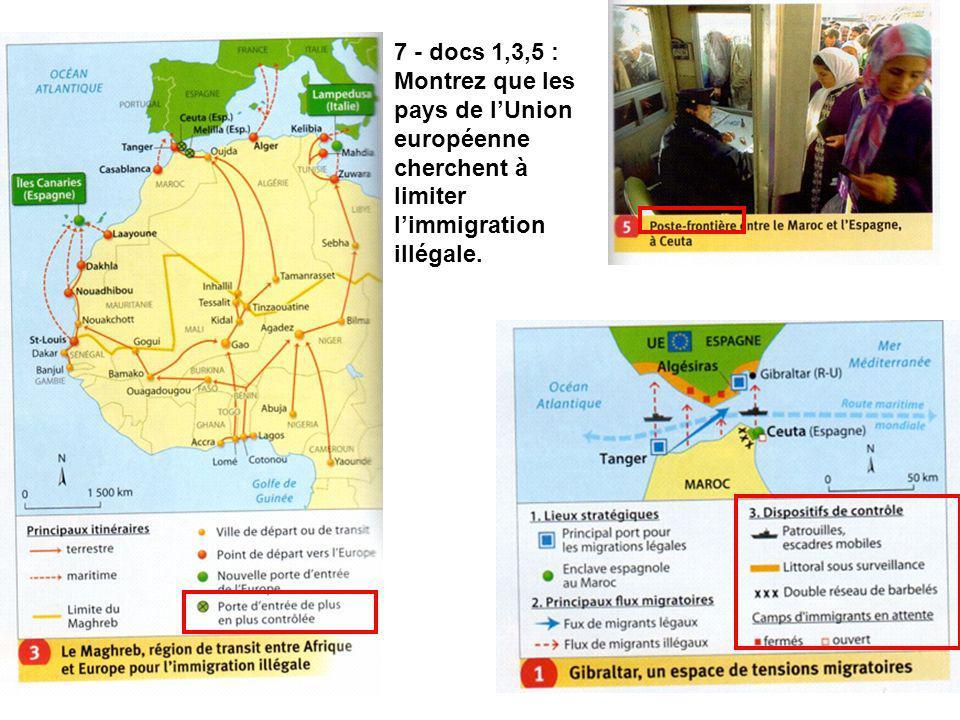 7 - docs 1,3,5 : Montrez que les pays de lUnion européenne cherchent à limiter limmigration illégale.