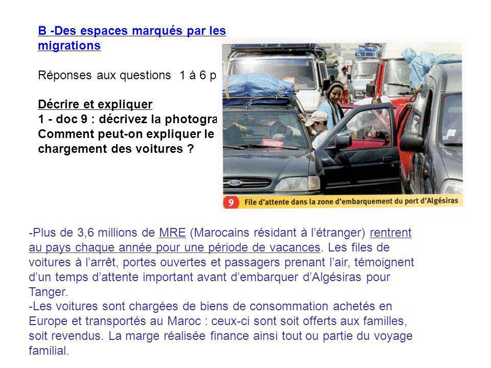 B -Des espaces marqués par les migrations Réponses aux questions 1 à 6 p237 Décrire et expliquer 1 - doc 9 : décrivez la photographie. Comment peut-on