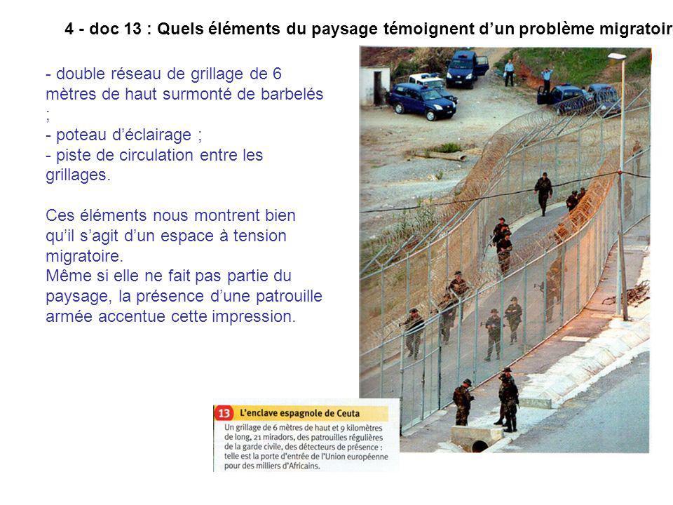 4 - doc 13 : Quels éléments du paysage témoignent dun problème migratoire ? - double réseau de grillage de 6 mètres de haut surmonté de barbelés ; - p