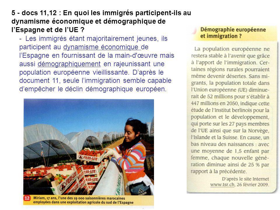 5 - docs 11,12 : En quoi les immigrés participent-ils au dynamisme économique et démographique de lEspagne et de lUE ? - Les immigrés étant majoritair