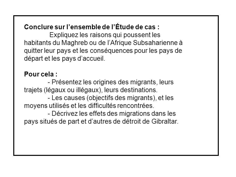 Conclure sur lensemble de lÉtude de cas : Expliquez les raisons qui poussent les habitants du Maghreb ou de lAfrique Subsaharienne à quitter leur pays