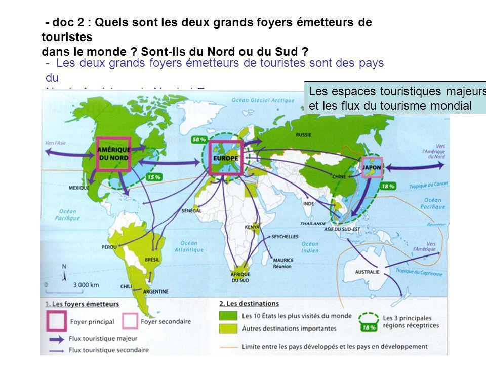 - doc 2 : Quels sont les deux grands foyers émetteurs de touristes dans le monde ? Sont-ils du Nord ou du Sud ? - Les deux grands foyers émetteurs de
