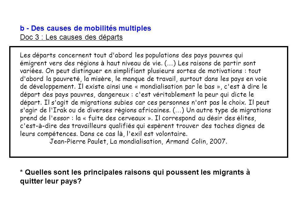 b - Des causes de mobilités multiples Doc 3 : Les causes des départs Les d é parts concernent tout d'abord les populations des pays pauvres qui é migr