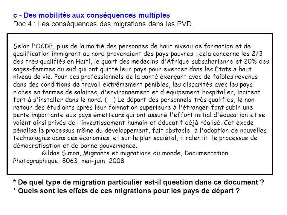 c - Des mobilités aux conséquences multiples Doc 4 : Les conséquences des migrations dans les PVD Selon l'OCDE, plus de la moiti é des personnes de ha