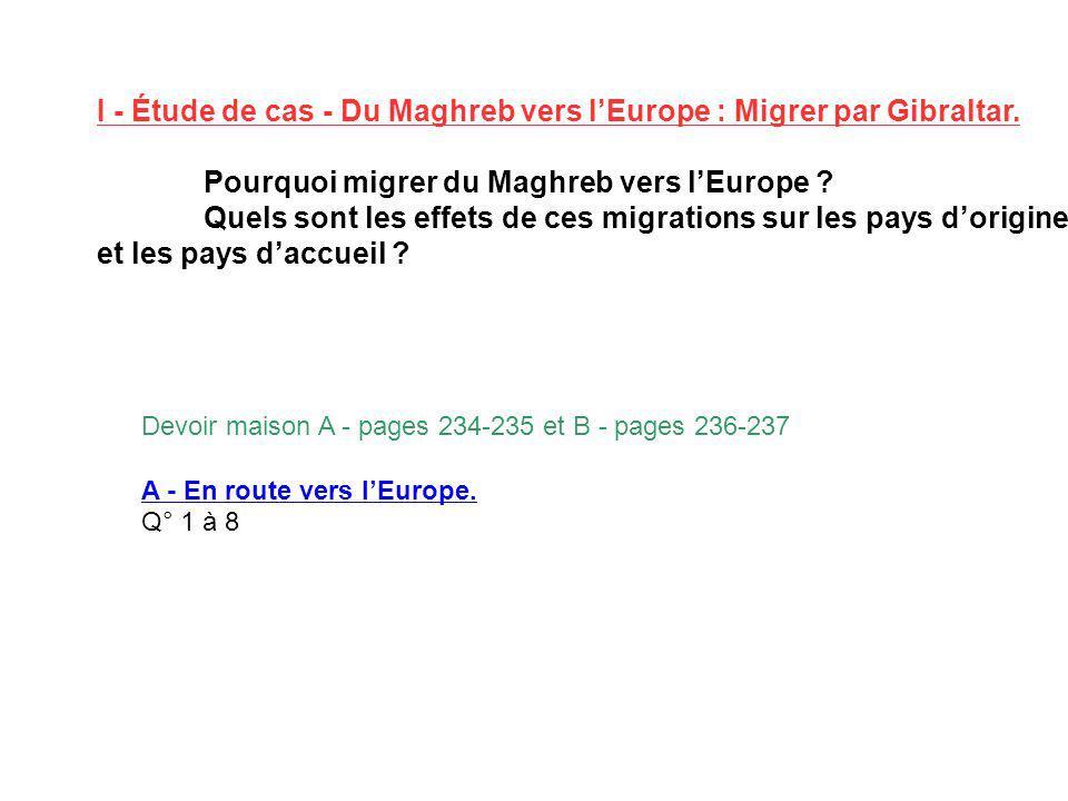 I - Étude de cas - Du Maghreb vers lEurope : Migrer par Gibraltar. Pourquoi migrer du Maghreb vers lEurope ? Quels sont les effets de ces migrations s