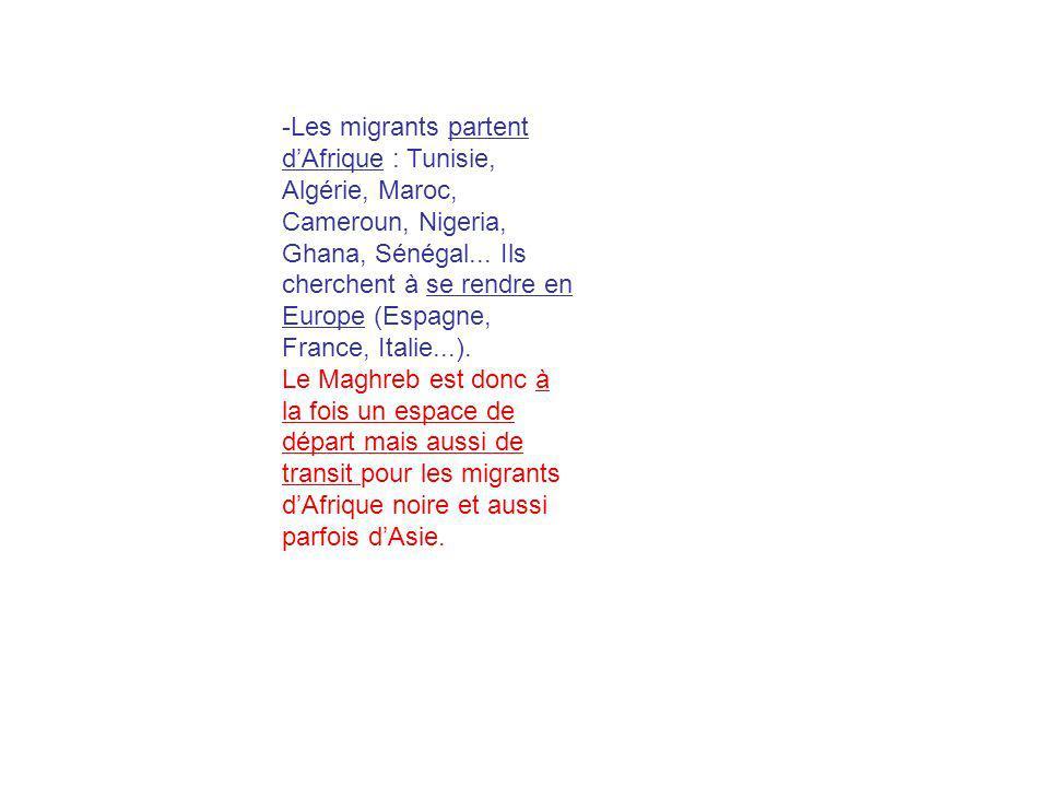 -Les migrants partent dAfrique : Tunisie, Algérie, Maroc, Cameroun, Nigeria, Ghana, Sénégal... Ils cherchent à se rendre en Europe (Espagne, France, I