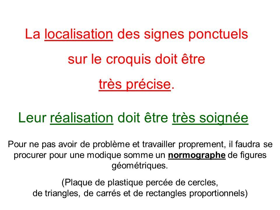 La localisation des signes ponctuels sur le croquis doit être très précise. Pour ne pas avoir de problème et travailler proprement, il faudra se procu