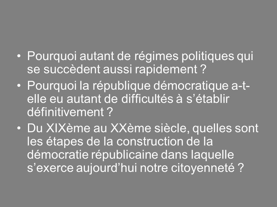 Pourquoi autant de régimes politiques qui se succèdent aussi rapidement ? Pourquoi la république démocratique a-t- elle eu autant de difficultés à sét