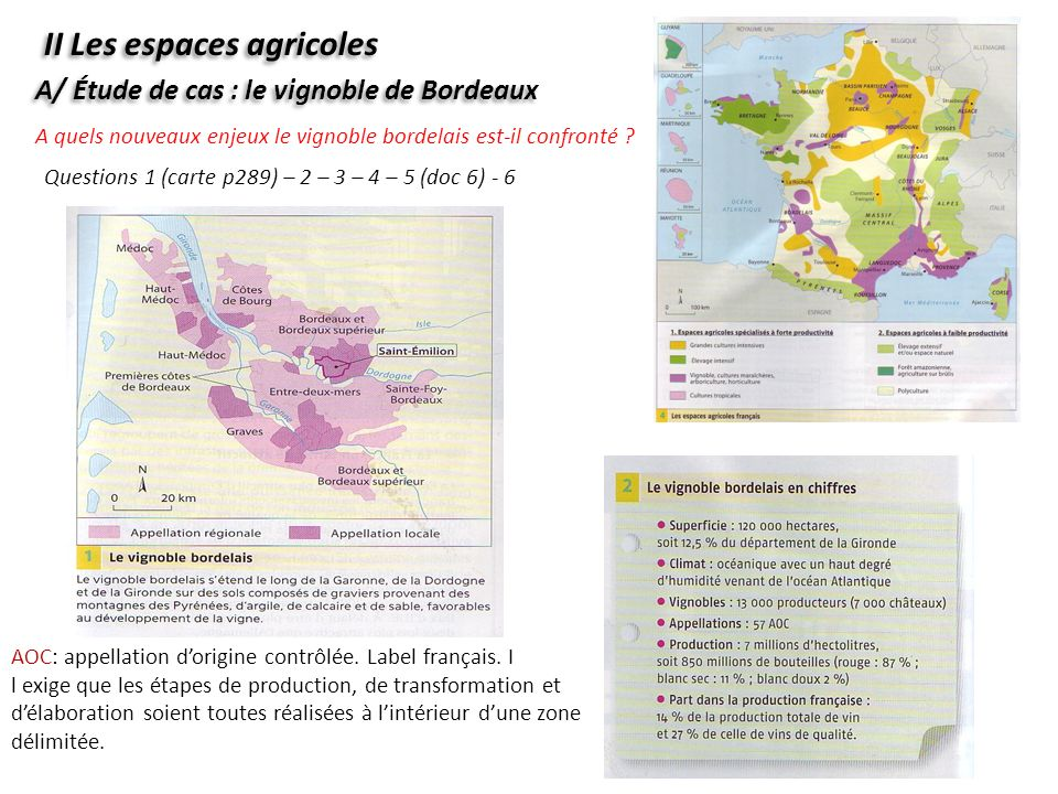 A quels nouveaux enjeux le vignoble bordelais est-il confronté ? II Les espaces agricoles A/ Étude de cas : le vignoble de Bordeaux Questions 1 (carte