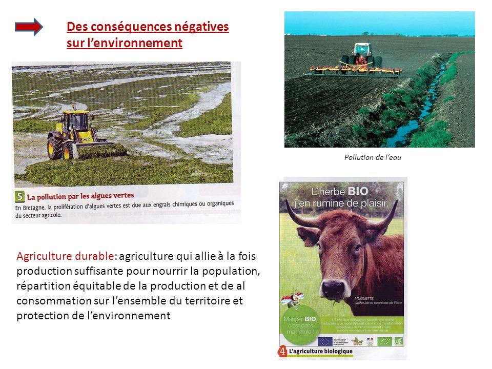 Des conséquences négatives sur lenvironnement Pollution de leau Agriculture durable: agriculture qui allie à la fois production suffisante pour nourri