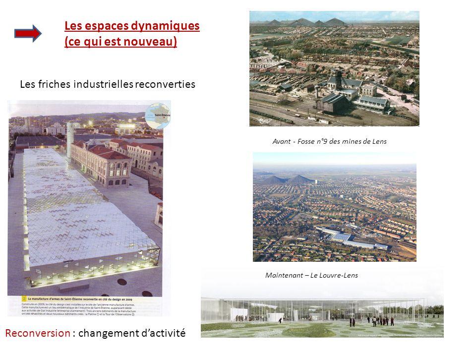 Les espaces dynamiques (ce qui est nouveau) Les friches industrielles reconverties Avant - Fosse n°9 des mines de Lens Maintenant – Le Louvre-Lens Rec