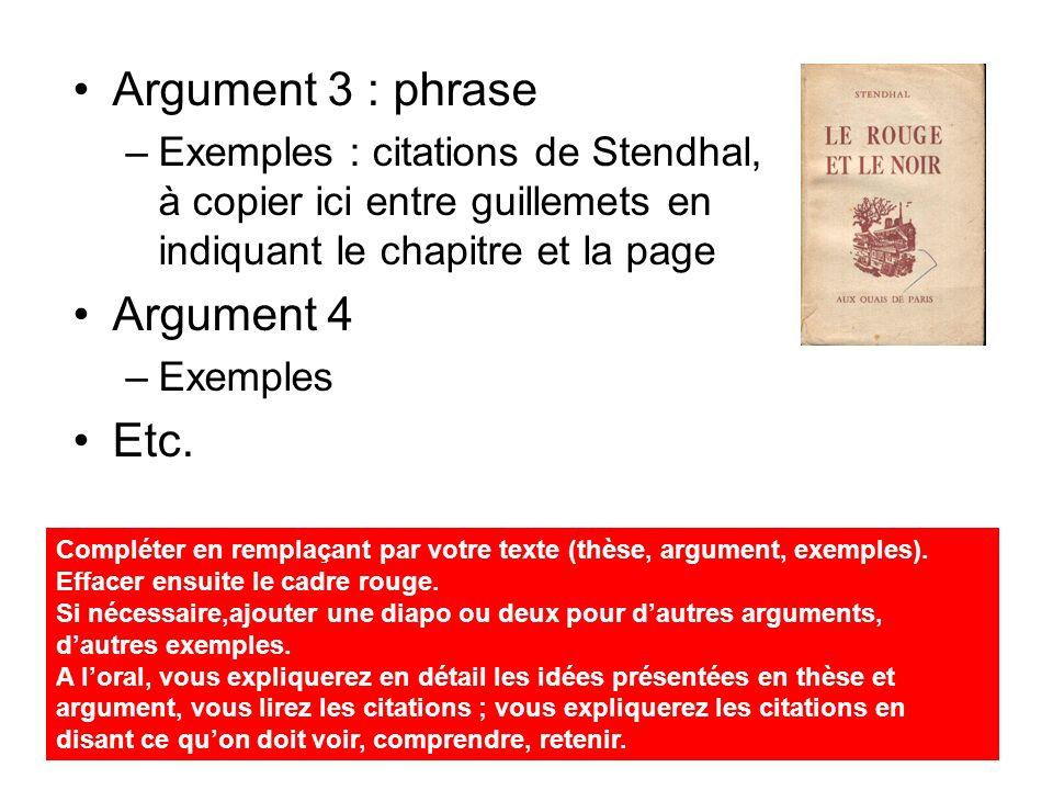 2ème partie : votre thèse (phrase) Argument 1 : phrase –Exemples : citations de Stendhal, à copier ici entre guillemets en indiquant le chapitre et la page Argument 2 –Exemples Etc.