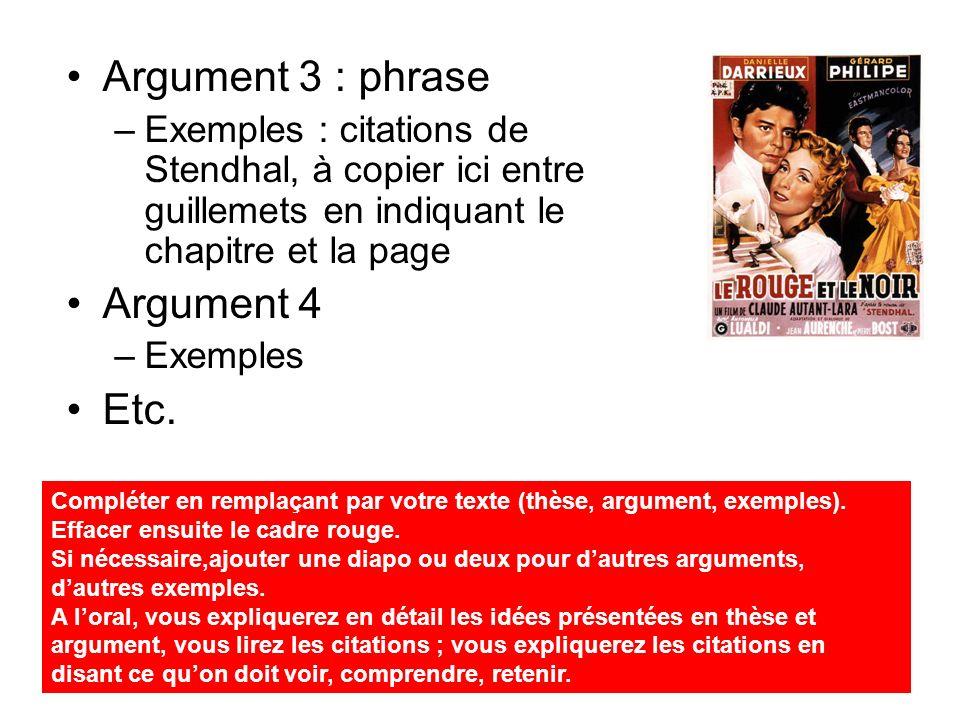 3ème partie : votre thèse (phrase) Argument 1 : phrase –Exemples : citations de Stendhal, à copier ici entre guillemets en indiquant le chapitre et la page Argument 2 –Exemples Etc.