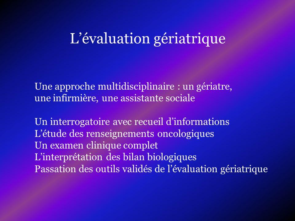 Lévaluation gériatrique Une approche multidisciplinaire : un gériatre, une infirmière, une assistante sociale Un interrogatoire avec recueil dinformat