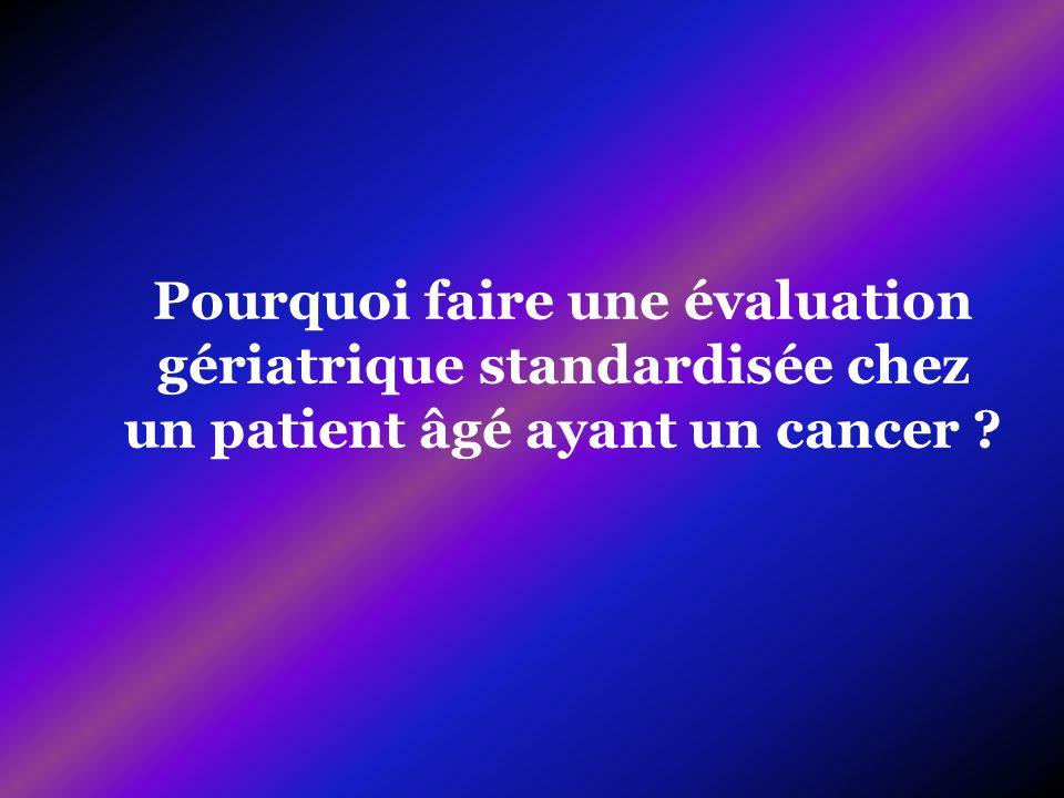 Pourquoi faire une évaluation gériatrique standardisée chez un patient âgé ayant un cancer ?