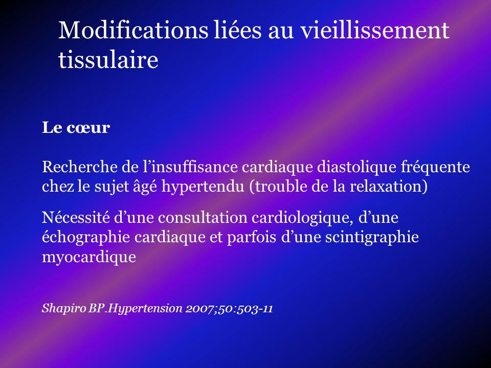 Nécessité dune consultation cardiologique, dune échographie cardiaque et parfois dune scintigraphie myocardique Shapiro BP.Hypertension 2007;50:503-11
