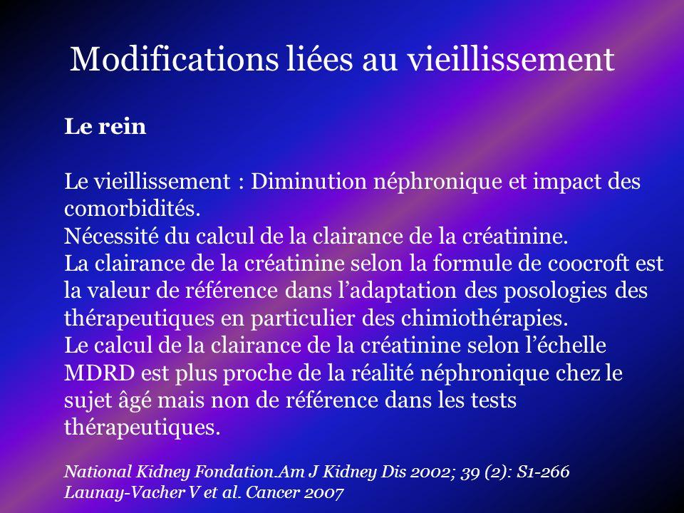 Le rein Le vieillissement : Diminution néphronique et impact des comorbidités. Nécessité du calcul de la clairance de la créatinine. La clairance de l