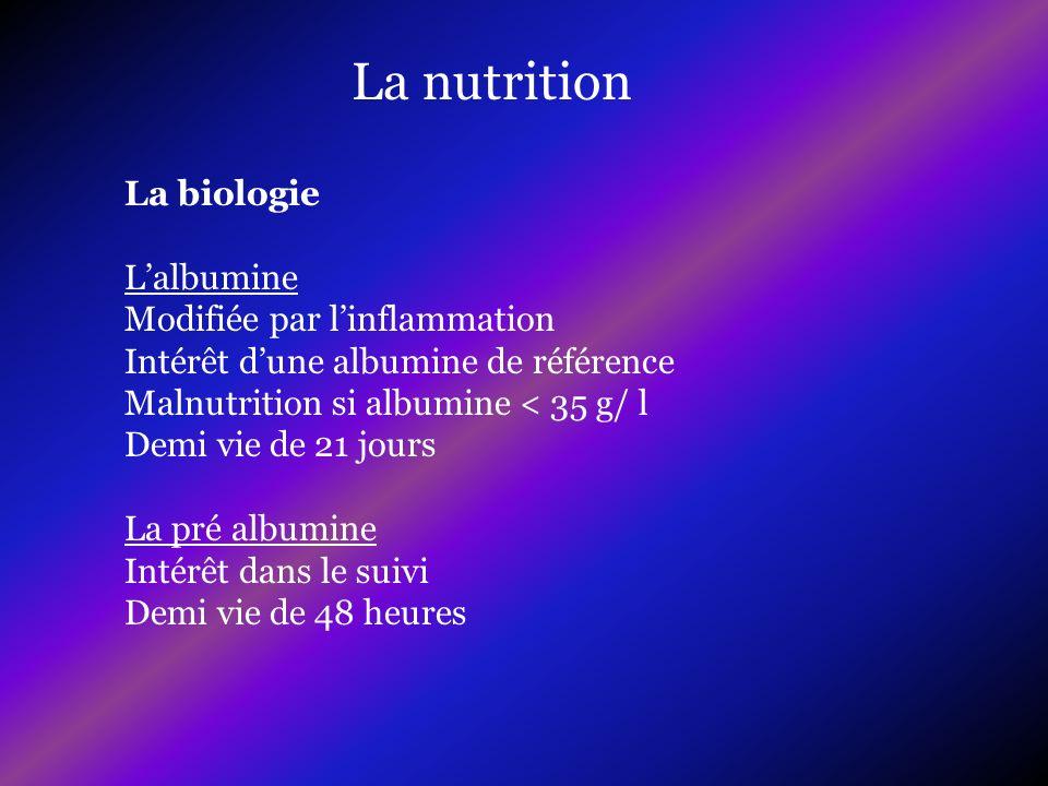 La nutrition La biologie Lalbumine Modifiée par linflammation Intérêt dune albumine de référence Malnutrition si albumine < 35 g/ l Demi vie de 21 jou
