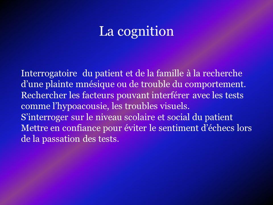 Interrogatoire du patient et de la famille à la recherche dune plainte mnésique ou de trouble du comportement. Rechercher les facteurs pouvant interfé