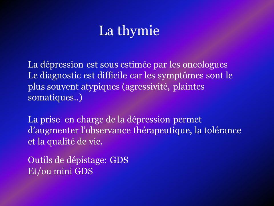 Outils de dépistage: GDS Et/ou mini GDS La thymie La dépression est sous estimée par les oncologues Le diagnostic est difficile car les symptômes sont