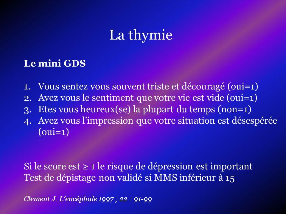 La thymie Le mini GDS 1.Vous sentez vous souvent triste et découragé (oui=1) 2.Avez vous le sentiment que votre vie est vide (oui=1) 3.Etes vous heure