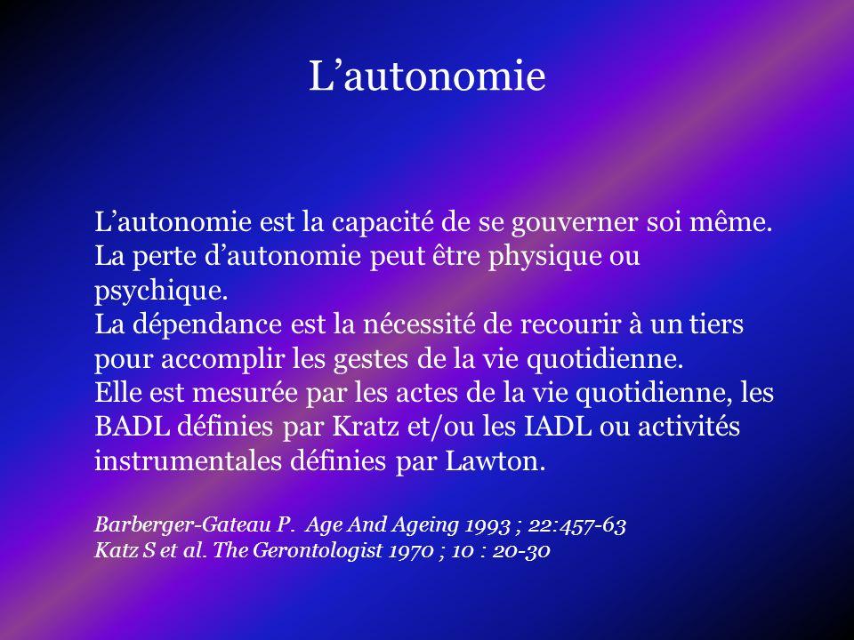 Lautonomie est la capacité de se gouverner soi même. La perte dautonomie peut être physique ou psychique. La dépendance est la nécessité de recourir à