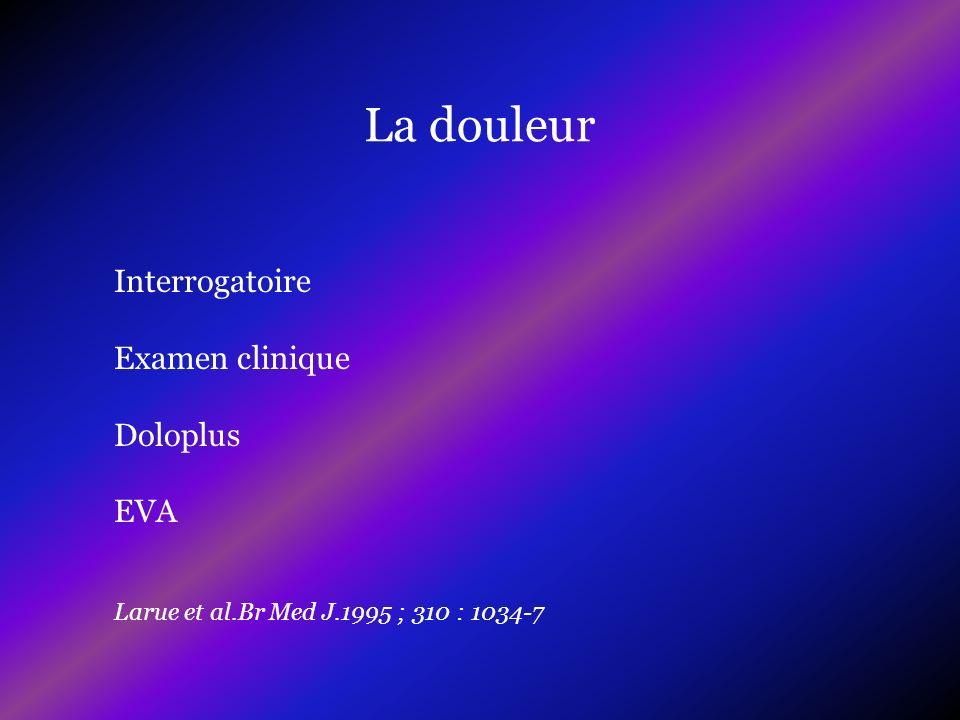 Interrogatoire Examen clinique Doloplus EVA Larue et al.Br Med J.1995 ; 310 : 1034-7