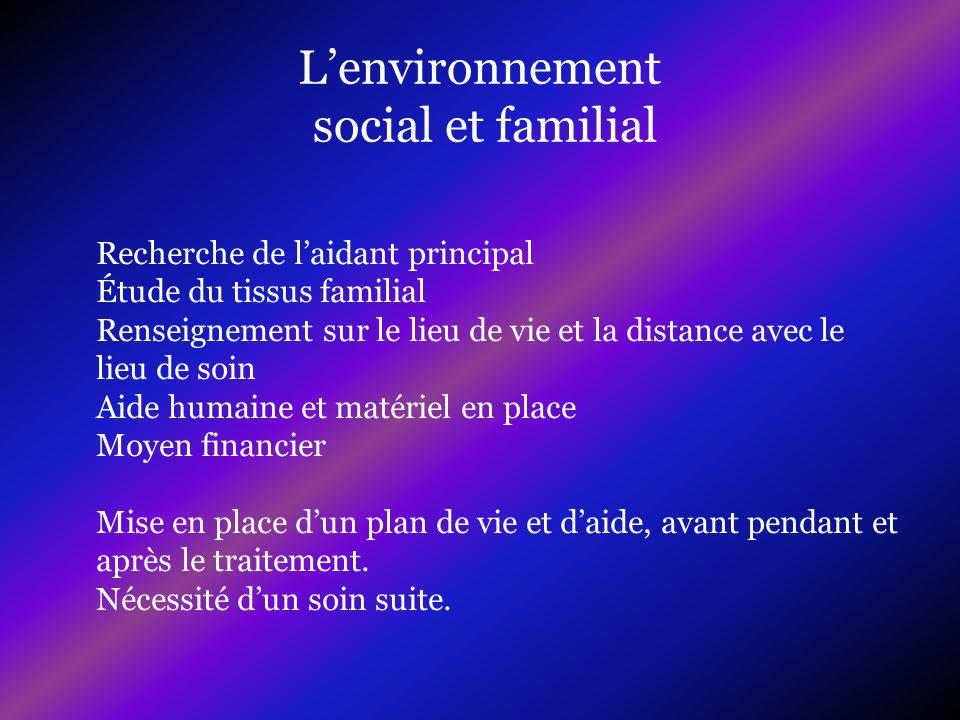 Lenvironnement social et familial Recherche de laidant principal Étude du tissus familial Renseignement sur le lieu de vie et la distance avec le lieu