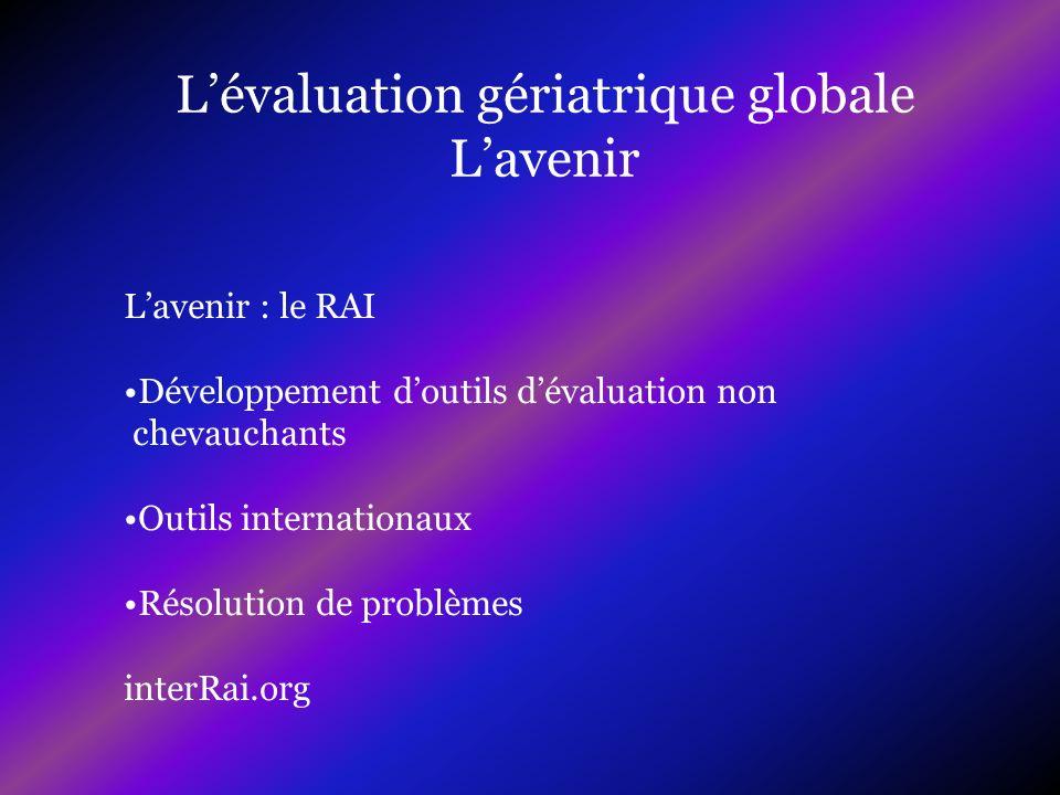 Lavenir : le RAI Développement doutils dévaluation non chevauchants Outils internationaux Résolution de problèmes interRai.org
