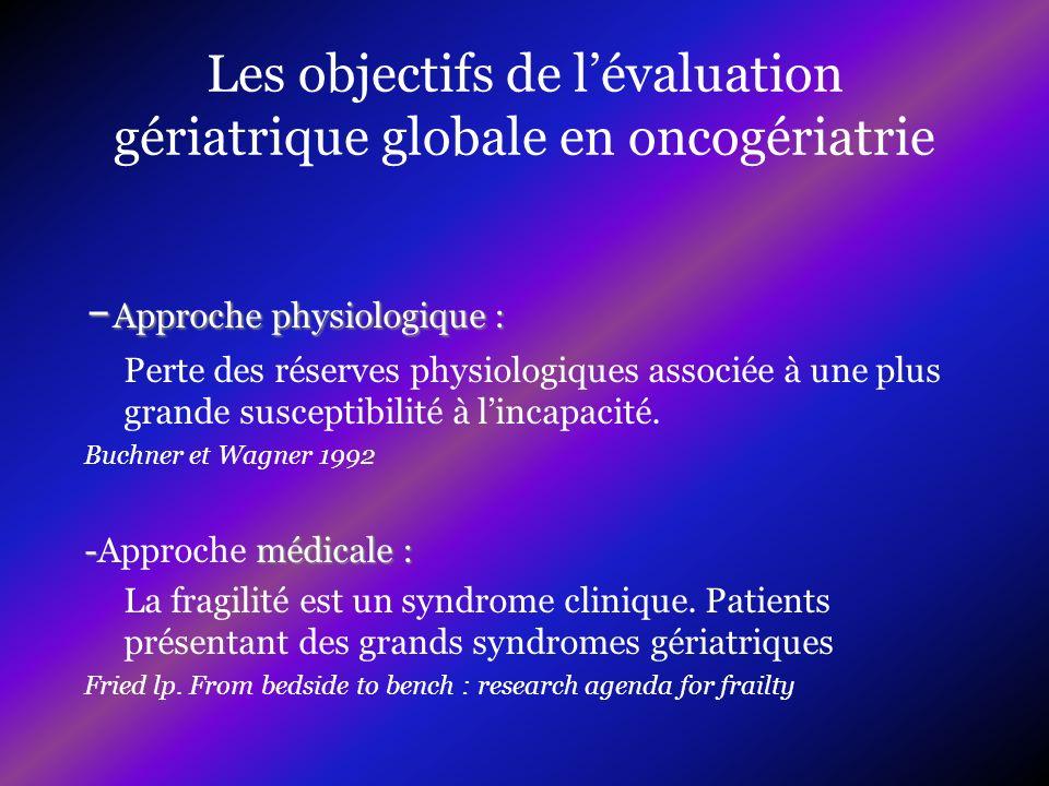 Les objectifs de lévaluation gériatrique globale en oncogériatrie Estimer lespérance de vie des patients en fonction des comorbidités et de la présence des grands syndromes gériatriques.